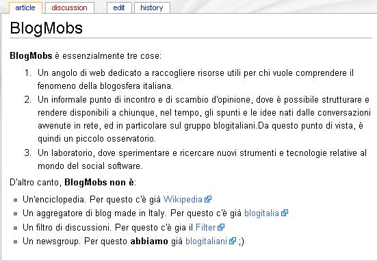 blogmobs, il wiki - descrizione